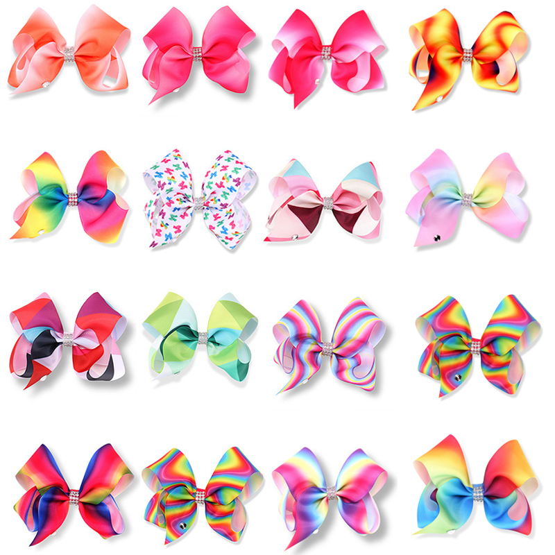 1PC 5 Big Grosgrain Rainbow Hair Bows With Hair Clips Boutique Hair Ribbon Bows for Gifts Accessories Kids Girls Headwear 10 inches huge big bow clip boutique hair bows for teens girls kids children women alligator hair clips grosgrain ribbon bows