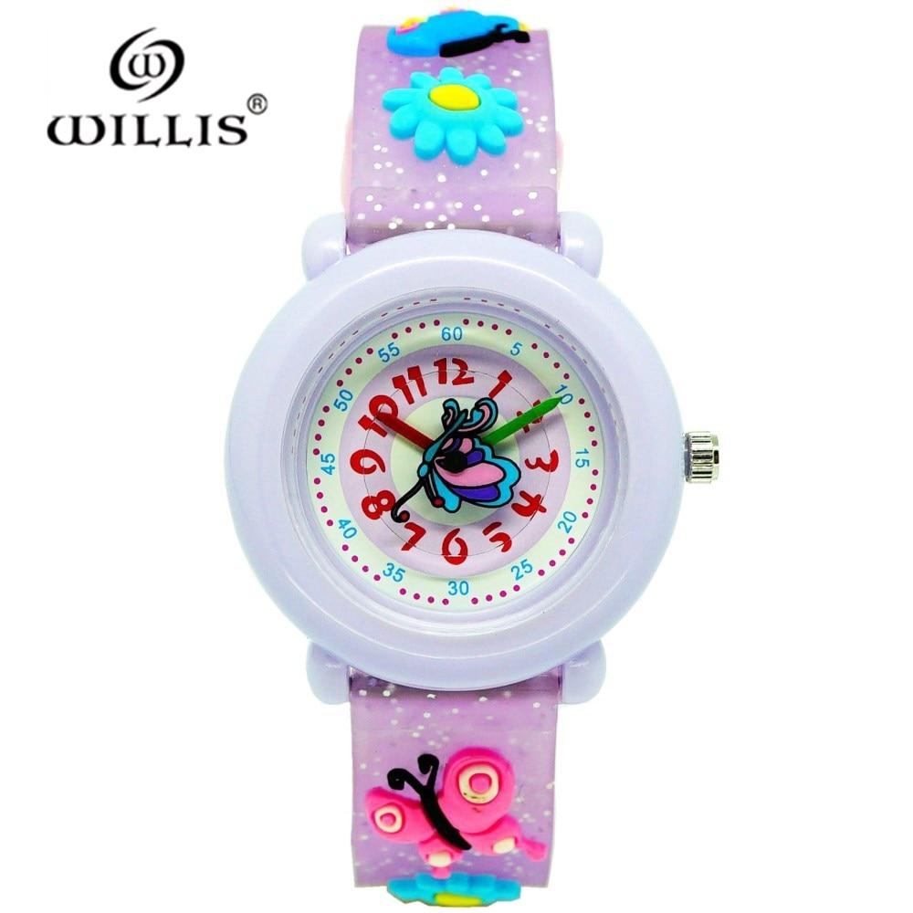 WILLIS Brand Modern Fashion Quartz Watch Silicone Girl Children Quality Casual Wristwatch Female 3D Butterfly Waterproof Watches