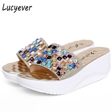Lucyever 2017 New Summer Colorful Rhinestone Slipper Wedge Platform Shoes Woman Fashion Crystal Beach Flip Flops Leisure Sandals