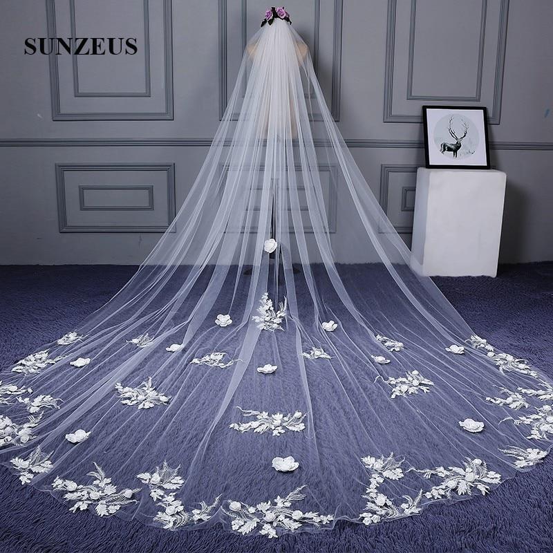 Voiles longs blancs avec Appliques de dentelle magnifique église accessoires de mariage de mariée acessorios casamento SBV31