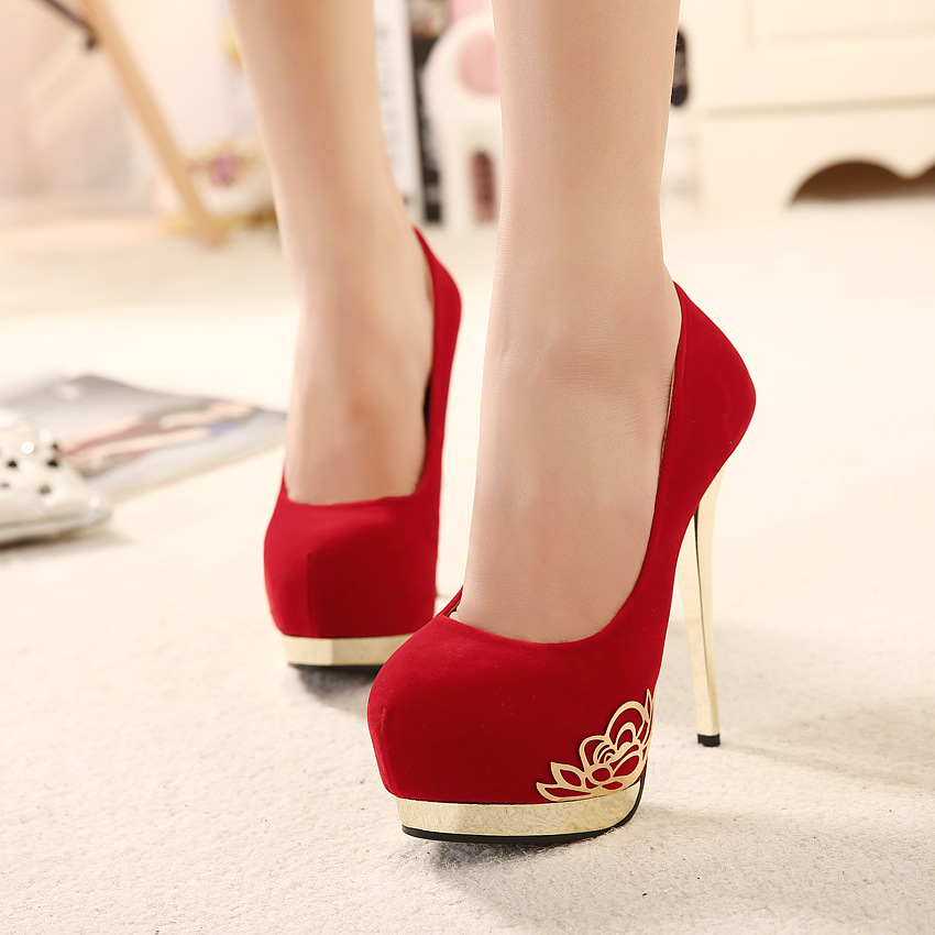 New Autumn Fashion Black Blue Red Women Platform Pumps Ladies High Heels Shoes Plus Big Size 33 42 9.5