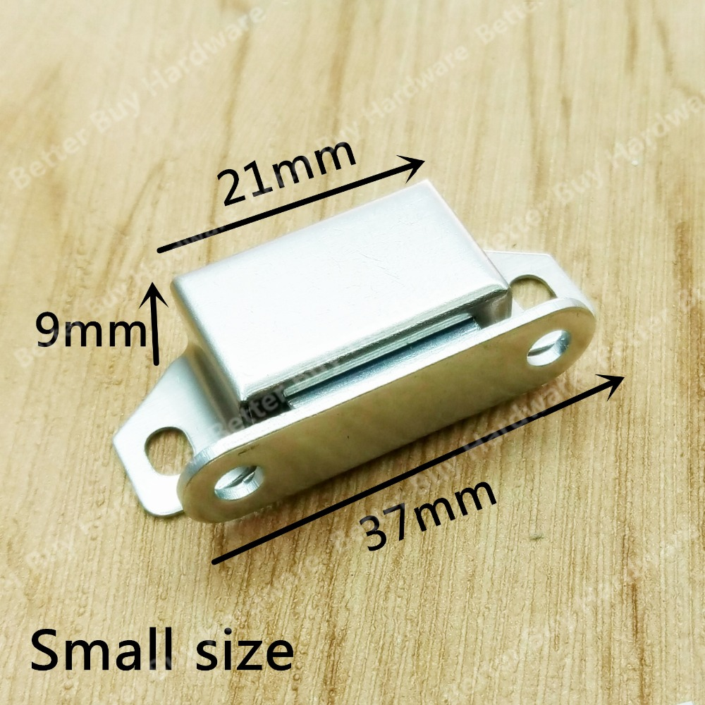 50pcs 37mm Wholesale Magnetic Touch Stainless Steel Cabinet Door Catches Damper Buffers Stop With Screws 2pcs set stainless steel 90 degree self closing cabinet closet door hinges home roomfurniture hardware accessories supply