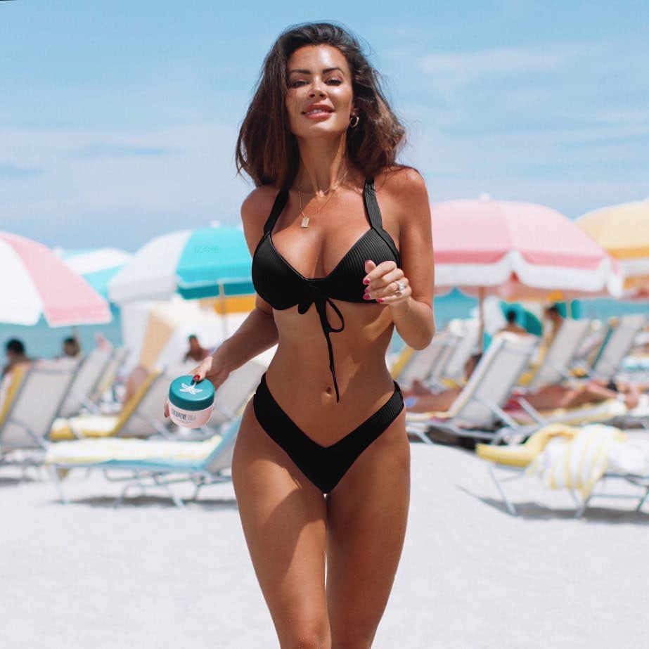 2019 Sexy High Cut ฤดูร้อนใหม่ผู้หญิง 2 ชิ้นชุดบิกินี่คุณภาพสูง Padded ชุดว่ายน้ำชุดว่ายน้ำบิกินี่ beachwear
