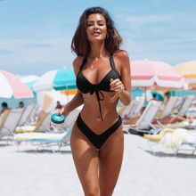 2019 Sexy High Cut New Summer Women Two Pieces Bikini Set Solid Quality Padded Push Up Swimwear Brazilian Beachwear