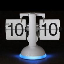 Creative Flip Table Clock Luminous Sound Control Lights LED Desktop Clock Quartz Movement Automatic Page Turning Table Clocks