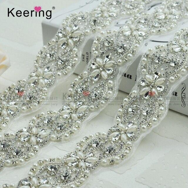 Keering Keering Elegant Handmade Pearl Rhinestone Trim For Wedding WRA-363