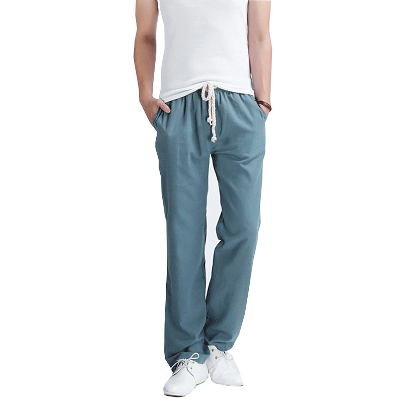 2019 New Arrival Spring Summer Linen Mens Joggers Solid Color Casual Jogger Sweatpants Plus Size M-5XL AYG194