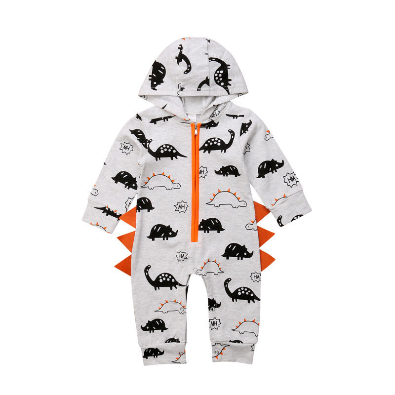 Fashion Dinosaur Newborn Baby Boy Girl Hooded Cotton Romper Jumpsuit Outfits Clothes