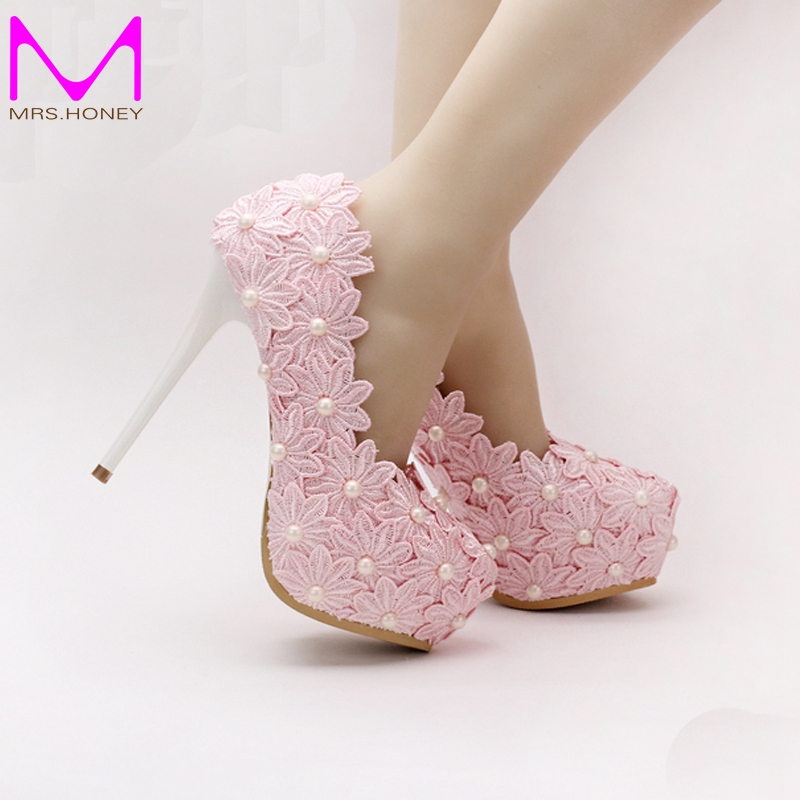 Pink Lace Flower Wedding Shoes Round Toe Women Formal Dress Shoes