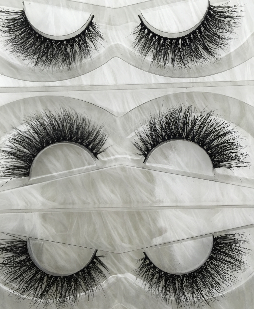 ФОТО Free shipping 3pcs d003 high quality fashion style 3D crossing thick full premium 100% real siberian mink strip eyelashes