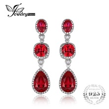 Jewelrypalace 15ct women fine creado gem pigeon blood red rubí pendientes earring set real pura plata esterlina del sólido 925