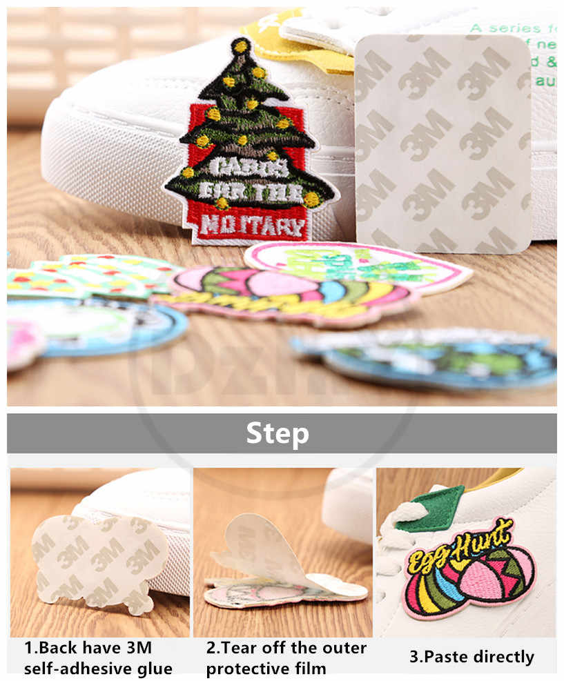 3M Self-adhesive Cute House Modeling Embroidery Patches for Stripes on the  Backpack Stickers on Fabric Clothes Appliques @A