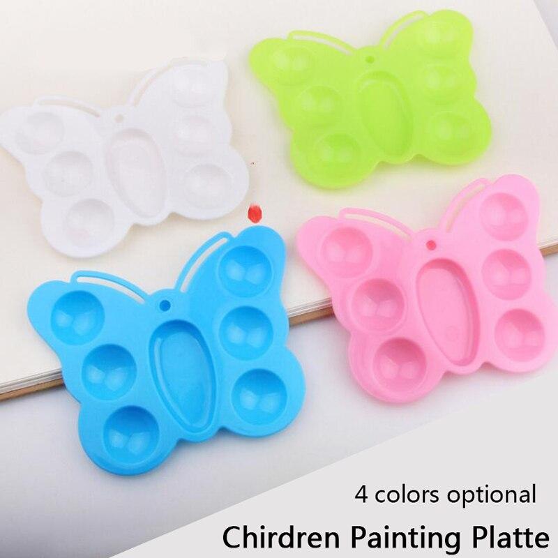 7 Wells Plastic Watercolor Palette Art Paint Color Palette Butterfly Drawing Tray Oil Watercolour Paint Painting Pallet