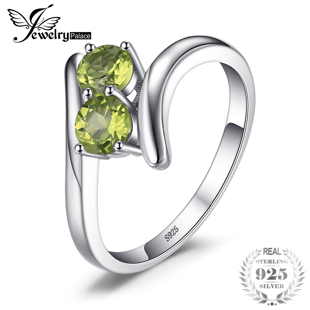 JewelryPalace Fashion 0.82ct Natural Peridot 2 Stone Engagement Rings For Women 100% 925 Sterling Silver Ring Brand Fine Jewelry jewelrypalace 100