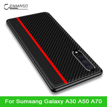 For Samsung A50 Case Luxury Carbon Fiber Texture PU Leather Protection Back Cover for Samsung Galaxy A30 A50 A70 Case Cover(China)