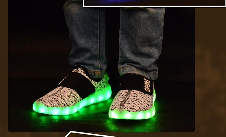 2017 sponge mice brand children boys and girls breathable USB charging LED light shoes casual shoes 4