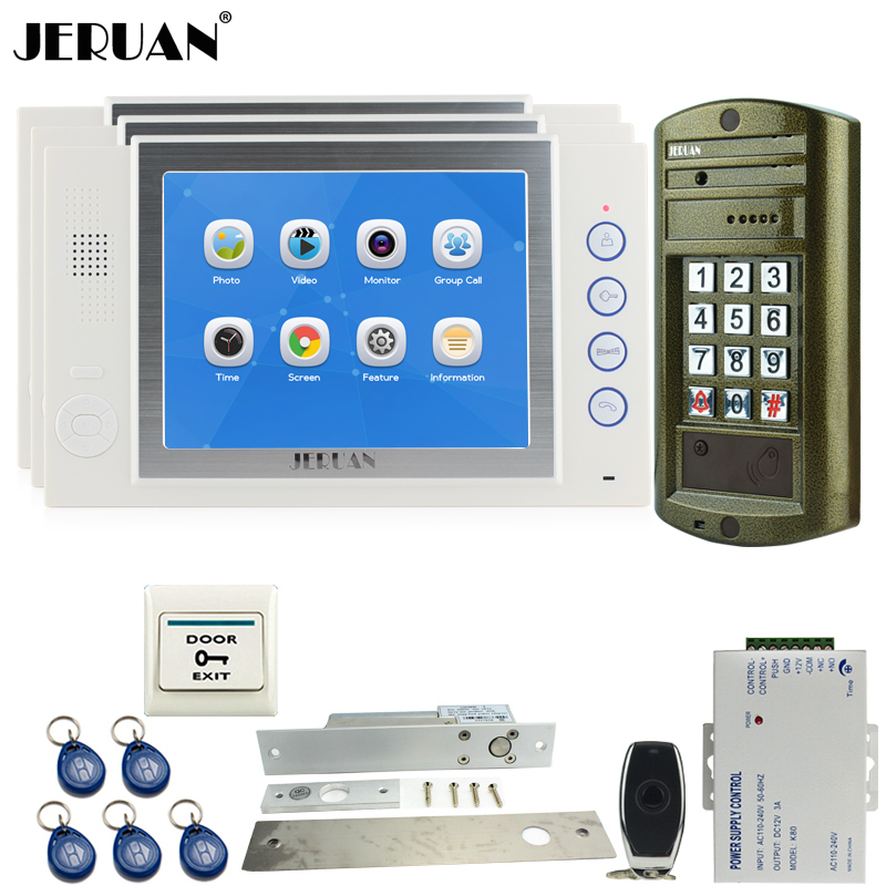 JERUAN Wired 8 inch Video Door Phone Record Doorebll Intercom System kit 3 Monitor + NEW Waterproof Password HD Mini Camera 1V3 jeruan wired 8 video doorphone record intercom system kit 2 monitor new rfid waterproof touch key password keypad camera 8g sd