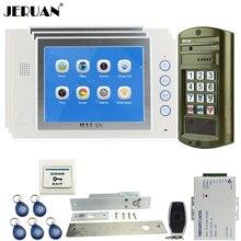 JERUAN Wired 8 inch Video Door Phone Record Doorebll Intercom System kit 3 Monitor + NEW Waterproof Password HD Mini Camera 1V3