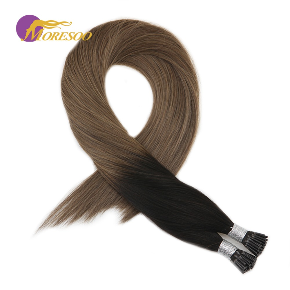 Moresoo 16-24 Inch I Tip Hair Extensions Remy Human Hair Straight Brazilian Fusion Pre Bonded Hair #1B/10 Brown 1g/1s 50G/Pack