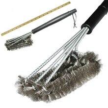 """1"""" прочная щетка для чистки гриля, инструмент для барбекю, щетка для гриля, 3 щетки из нержавеющей стали в 1, обеспечивает легкое очищение, аксессуары для барбекю"""