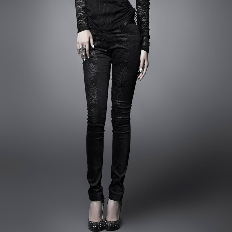PUNK RAVE Woemn Punk Style Black Printing Women Skinny Pants Spring Outumer Vintage Flower Pencil