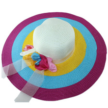 2019 Summer Ladies Straw Hat Bow Rainbow Woven UV Protection Bohemian Beach Sunscreen Cap