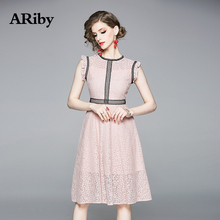ARiby Women Fashion Lace Solid Elegant Vest Dress 2019 Summer New High-end Office Lady Hollow Out Sleeveless A-Line