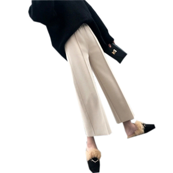 fabd56a46f 2018 Otoño Invierno Mujer Pantalones de pierna ancha lana alta cintura  suelta recta pantalones causales pantalones femeninos Capris FP0972