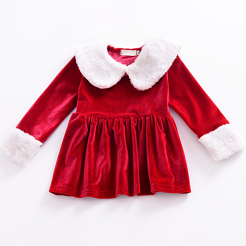 Chrismas Princess Dress Outfits Baby Girls Dress Newborn Infant Xmas Style Long Sleeve Solid Fur Neck Cute Clothing For Winter