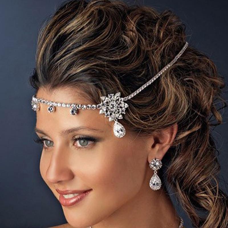 Haarband Hochzeit Strass Braut Haarschmuck Kopf Kette Schmuck Stirnband Kit