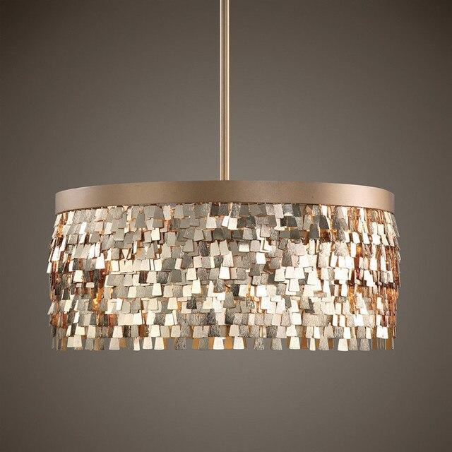 Regron Vintage Hanging Lamp French Style Gold Round Pendant Lights Splendid Novelty Led Lamps For Living Room Aisle Corridor