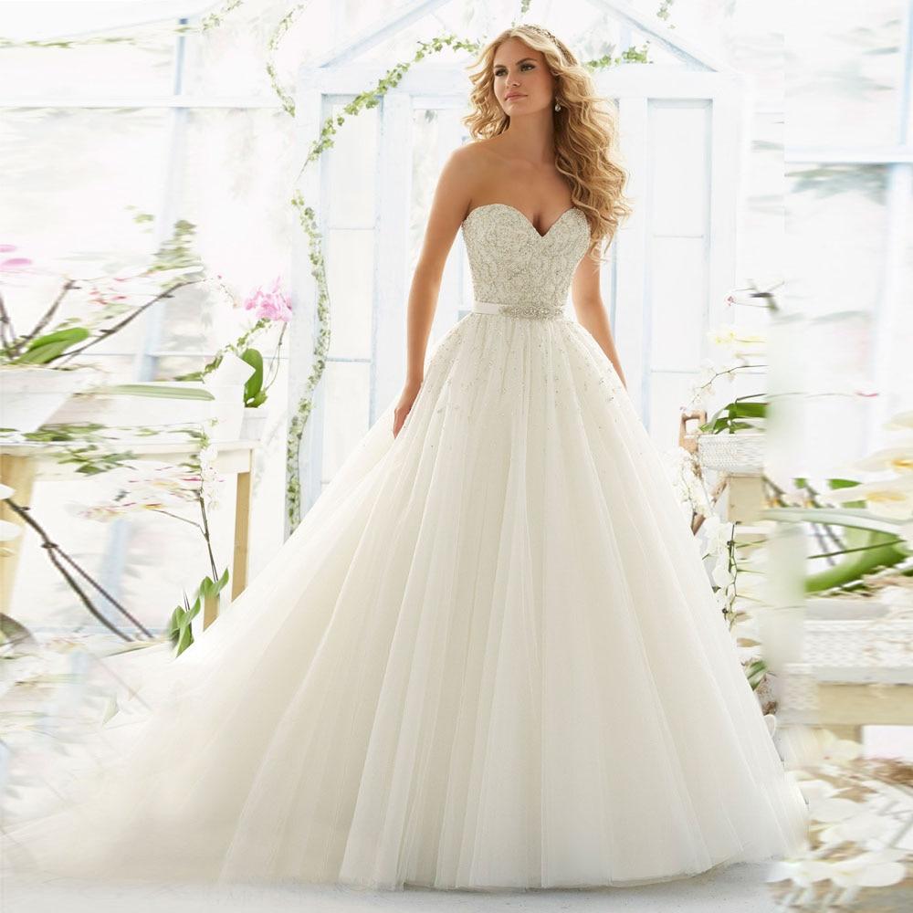 2016 In Selling Online Vestidos De Novia Full Beads And Pearls Organza Bridal