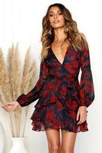 Uguest Summer Women Dress 2018 Sexy Deep V Neck Floral Printed Mini Party Dress Lady Beach Dresses Causal Long Sleeve