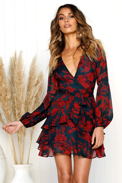 Women Dress 2020 Deep V Neck Floral Printed