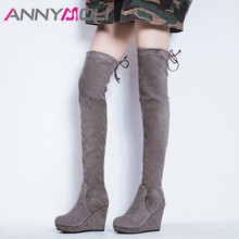 купить ANNYMOLI Winter Thigh High Boots Women Kid Suede Wedge High Heel Over The Knee Boots Sexy Slim Stretch Shoes Ladies Autumn 33-40 дешево