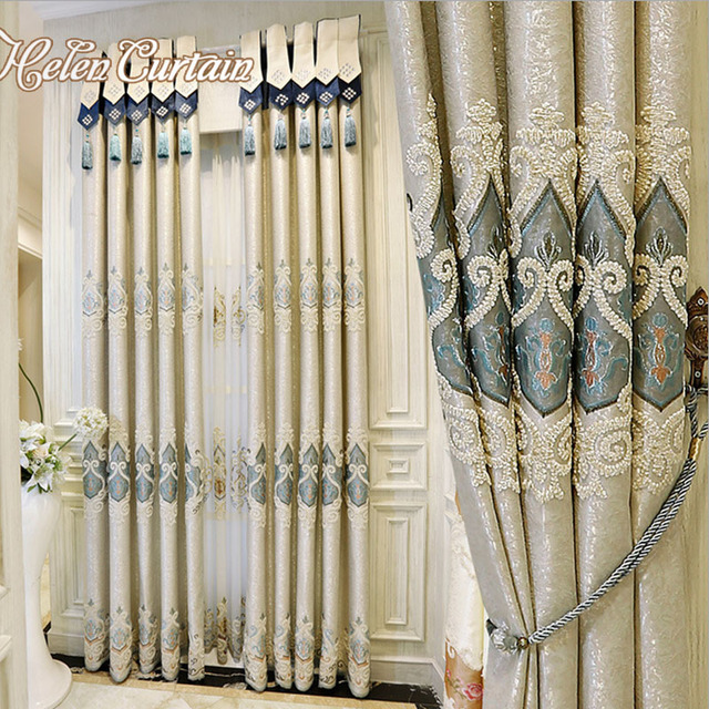 Helen Curtain Blue Embroidered Curtains Special Valance European Curtain  For Living Room Tulle Finished Window Curtains