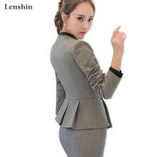 40d4df343 Lenshin de trabajo de moda chaqueta de manga larga cuello de Chal abrigo  femenino chaqueta gris de las mujeres ropa de moda Ofic.