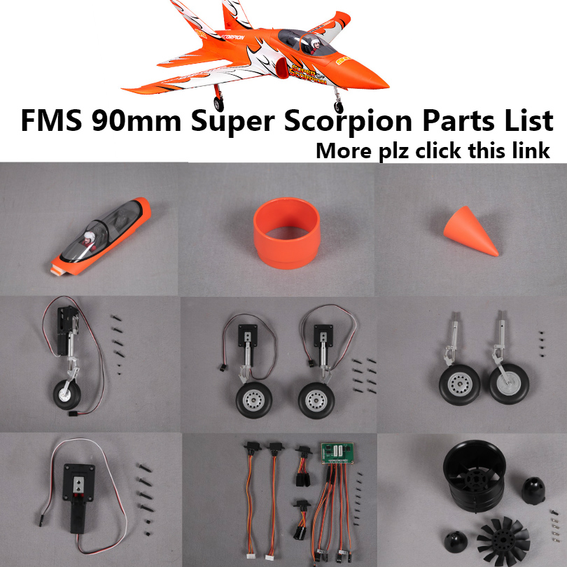 FMS 90mm Super Scorpion EDF Ducted Fan Jet Parts Retract Landing Gear Set System Motor ESC Servo RC Airplane Model Plane Spare image
