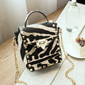New Arrival Leopard PU Leather Women Top-handle Bags High Quality Fashion Lock Chain Shoulder Bag Rivet  Women Tote Bag