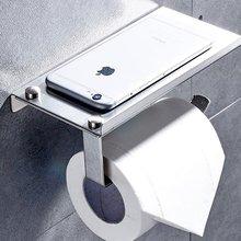 stainless steel Wall Mount Toilet Paper Holder organizer Bathroom Tissue Holder with Mobile Phone Storage Shelf