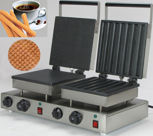 Double Head 220v Commercial  Churros waffle maker directly factory price commercial electric double head egg waffle maker for round waffle and rectangle waffle