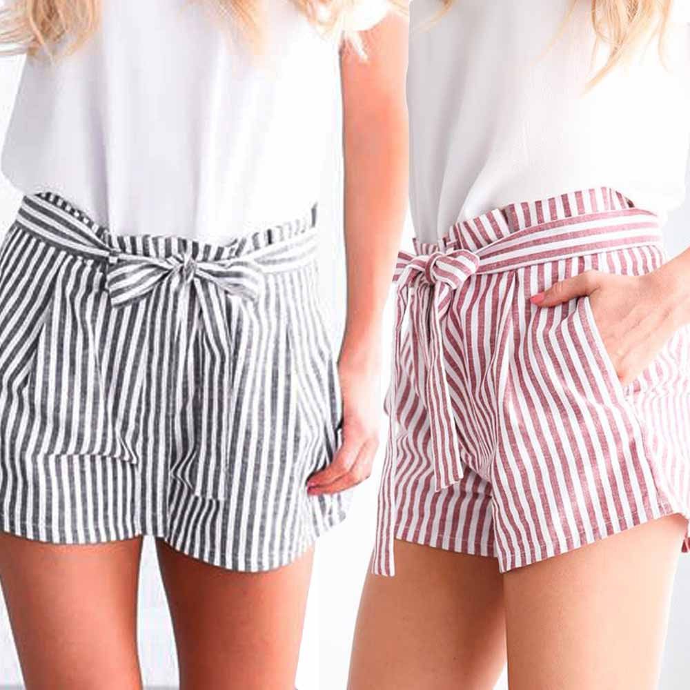 Womail Women   shorts   summer Stripe Print Elastic   Short   Sport   shorts     Shorts   Elastic Waist fashion Loose Casual Lady dropship j18