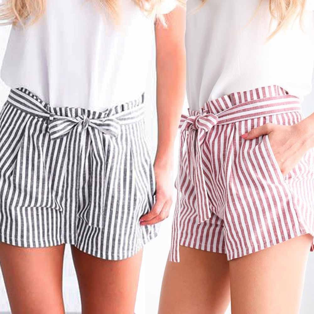 Womail  Women Shorts Summer Stripe Print  Elastic Short Sport Shorts Shorts Elastic Waist Fashion Loose Casual Lady Dropship J18