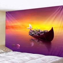 купить Flower Boat Landscape Printed Large Wall Tapestry Cheap Hippie Wall Hanging Bohemian Wall Tapestries Mandala Wall Art Decor по цене 231.87 рублей