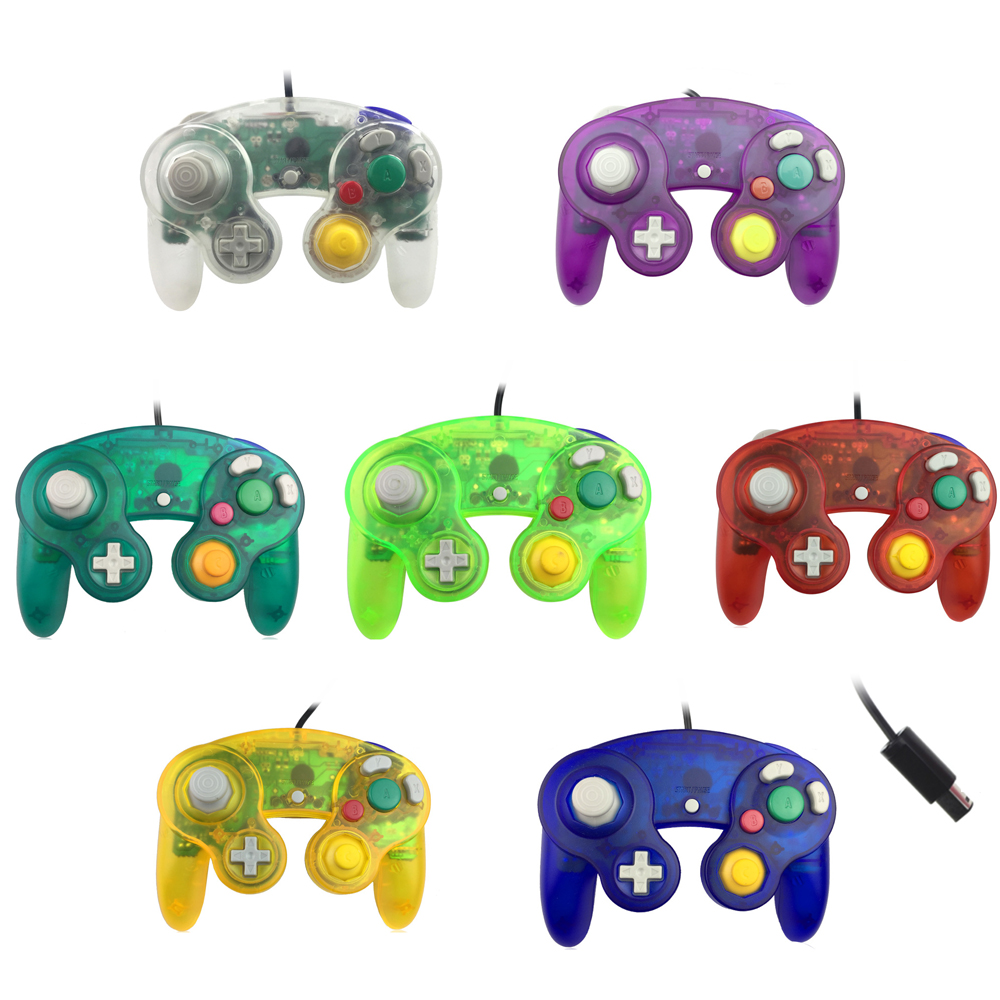 50pcs Transparent color For N G C gamepad One Button Wired Game Controller joystick for G