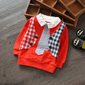 2016Baby Infant Children's Clothing Cotton Hollow Long Sleeve Boys Shirt 2016 Spring Fake Two Shirts, Solid Colors 1-3 Years Old