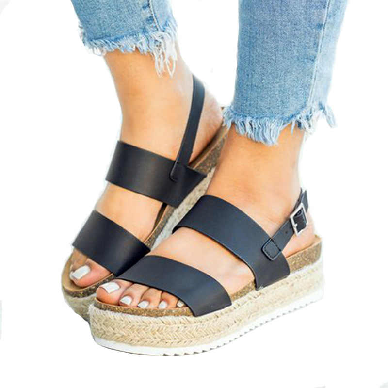 XDA Summer Snake Print Ladies Sandals Shoes fashion Women Platform Wedge  Sandals Buckle Ankle Strap Roman Casual Sandals D161