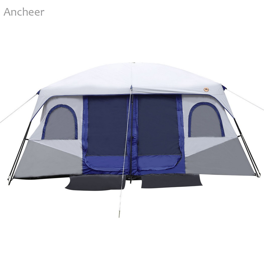 ANCHEER NEW Outdoor Tent Camping Tent 8-10 Person 2-Bedroom Outdoor Camping Hiking Tent Dual Layer Waterproof UV protected outdoor camping hiking automatic camping tent 4person double layer family tent sun shelter gazebo beach tent awning tourist tent