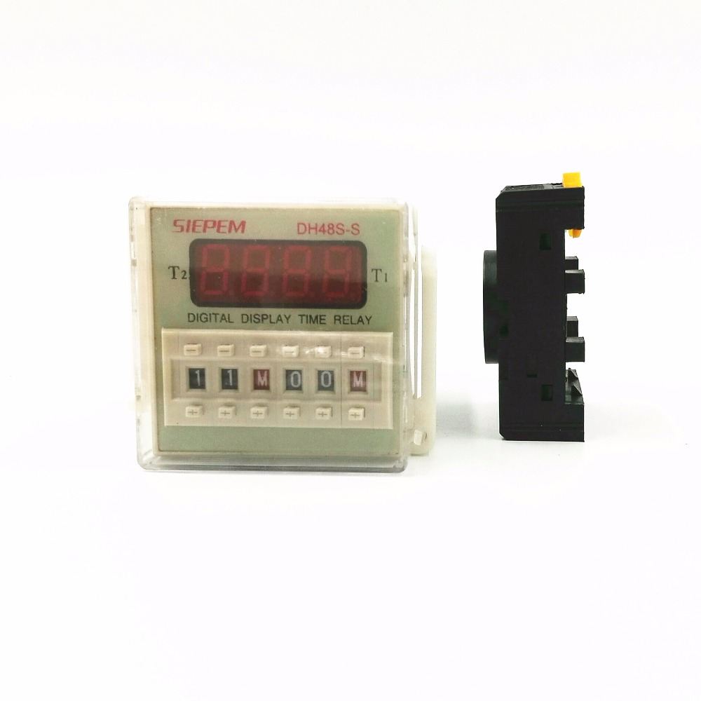 Digital time relay DH48S-S cycle control time delay 24V 220V 380V timer with socket 48vdc multifunction digital timer relay cycle delay 8 pins 2z dh48s s