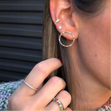 Gold color round circle geometric stud earring paved rainbow colorful cz zirconia fashion trendy women jewelry